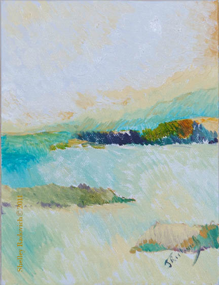 Oil painting on canvas of a small estuary, by Shelley Radovich.