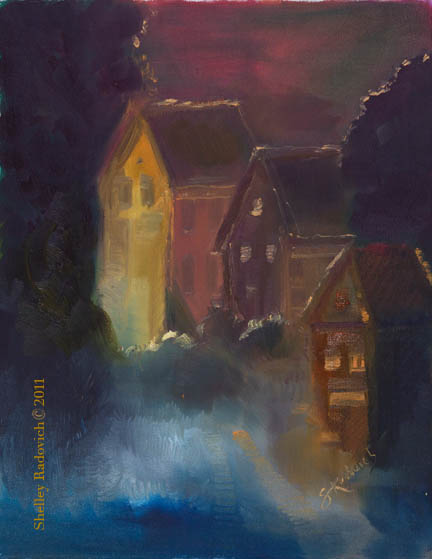 Oil painting on canvas of houses at night, by Shelley Radovich.