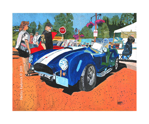 Art print of a painting of a blue Shelby Cobra, by Shelley Radovich.