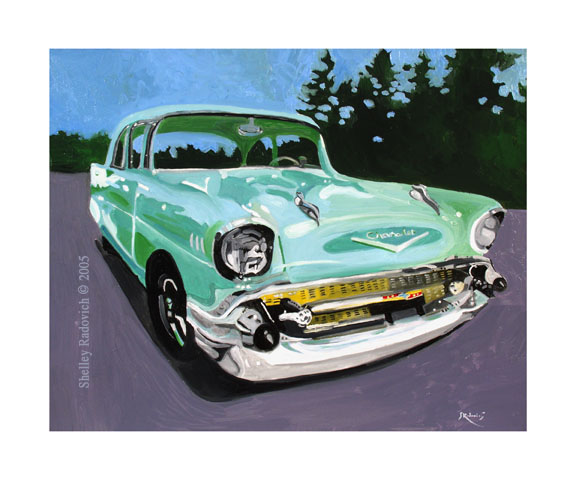 Art print of a painting of a green 1957 Chevy, by Shelley Radovich.