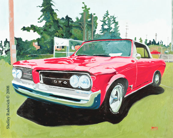 Art print of a painting of a red Pontiac GTO, by Shelley Radovich.