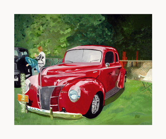 Art print of a painting of a red 1940 Ford, by Shelley Radovich.
