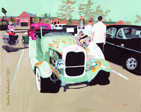 Art print of a painting of a roadster pickup, by Shelley Radovich.