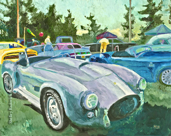 Art print of a painting of a silver Shelby Cobra, by Shelley Radovich.