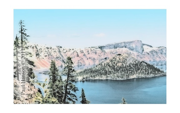 Digital art print of a photo of Crater Lake that has been manipulated to give it a lithographic look.  Printed on archival, high quality paper.