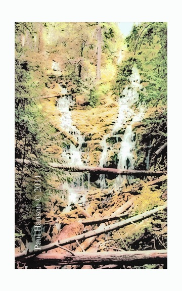 Digital art print of a photo of Proxy Falls that has been manipulated to give it a lithographic look.  Printed on archival, high quality paper.