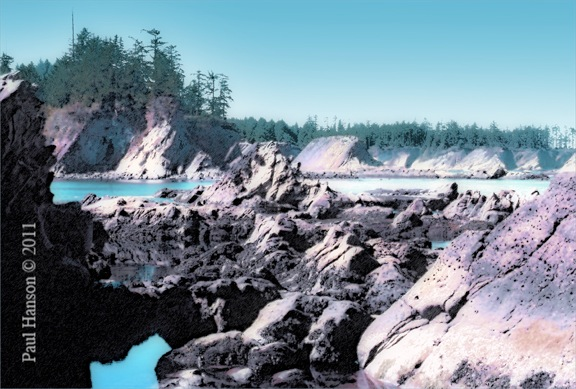Digital art print of a photo of a rocky bay on the souther Oregon coast, that has been manipulated to give it a lithographic look.  Printed on archival, high quality paper.