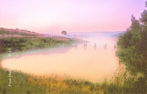Digital art print of a photo of a Sauvie Island sunrise that has been manipulated to give it a lithographic look.  Printed on archival, high quality paper.