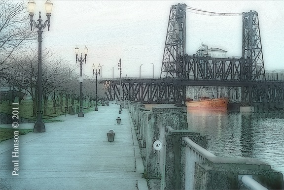 Digital art print of a photo of the Steel Bridge in Portland, Oregon, that has been manipulated to give it a lithographic look.  Printed on archival, high quality paper.