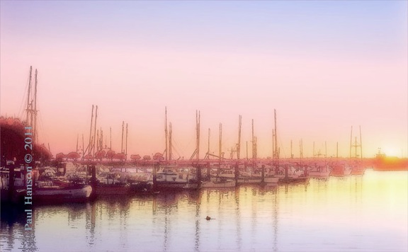 Digital art print of a photo of Winchester Bay, Oregon, that has been manipulated to give it a lithographic look.  Printed on archival, high quality paper.
